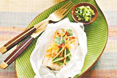 Steamed fish with ginger, coriander and kaffir lime