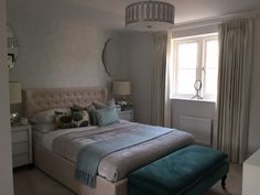 A beautifully decorated master bedroom at Orchard Brook with gorgeous teal coloured accessories. Long Melford, New Homes For Sale, Teal Colors, Master Bedroom, Interiors, Accessories, Furniture, Home Decor, Master Suite