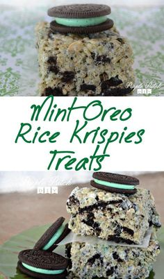 Make some delicious Mint Oreo Rice Krispie Treats in under 15 minutes! Make some delicious Mint Oreo Rice Krispie Treats in under 15 minutes! Oreo Rice Krispie Treats, Rice Krispy Treats Recipe, Cereal Treats, Cereal Bars, Rice Cereal, Köstliche Desserts, Delicious Desserts, Dessert Recipes, Popcorn Recipes