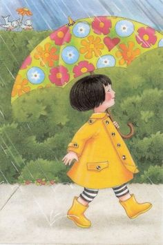 quenalbertini: Under my umbrella, Mary Engelbreit Mary Engelbreit, Umbrella Art, Under My Umbrella, Walking In The Rain, Singing In The Rain, Clouds And Rain, Art Postal, No Rain No Flowers, Children's Book Illustration