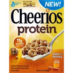 Cheerios Protein Oats and Honey Breakfast Cereal, oz: Sweetened whole grain oat cereal with crunchy oat granola clusters and real honey. General Mills, Cereal For Diabetics, New Cereal, Cereal Bars, Granola Clusters, Oats And Honey, Cinnamon Almonds, Real Cinnamon