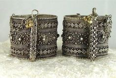 """Another fine pair of silver bracelets from Yemen, also posted on """"ethnic jewels"""", and sold; formerly owned by Anna Garner. These are exquisite ... See link http://vividvault.com/antique-yemen-silver-bracelet-signed/"""