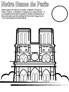 Creative and Great Print coloring web page and e-book, Notre Dame France Coloring Pages for teenagers of all to . Free Printable Coloring Pages, Free Coloring Pages, Coloring Books, Coloring Sheets, Coloring Pages For Teenagers, Coloring For Kids, Paris France, France For Kids, Notre Dame France