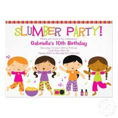 Hooray! Cute slumber party birthday invitation #invite #sleepover #card #kids