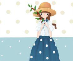 Dream of Echi : 네이버 블로그 Art And Illustration, Graphic Design Illustration, Cute Anime Chibi, Creative Pictures, Picture Design, Amigurumi Doll, Girl Cartoon, Background Patterns, Wall Sticker