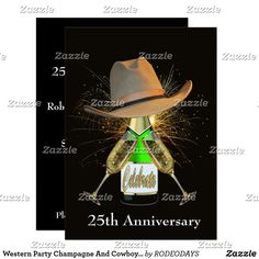 Shop Western New Year's Eve Party Cowboy Hat Champagne Invitation created by RODEODAYS. Western Party Decorations, Western Parties, Horse Party, Cowgirl Party, Champagne Party, Champagne Bottles, Custom Invitations, Party Invitations, New Years Eve Party