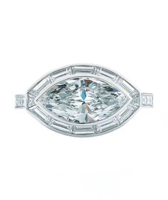 Kwiat Marquise Diamond Ring in Platinum in a Vintage Style with a Pave Diamond Split Band
