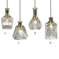 Gloria Vintage Decanter Bottle Pendant Light with Adjustable Cable