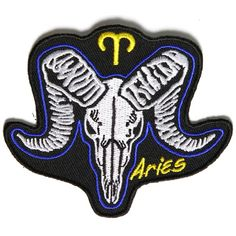 Aries Skull Zodiac Sign Patch measures inches and is Embroidered in Black / White / Blue / Yellow. The Small Patch can be sewn on or ironed on. Features plastic backing and embroidered die cut borders. Biker Patches, Skull Patches, Sew On Patches, Iron On Patches, Iron On Fabric, Clothing Patches, Embroidery Patches, Leather Vest, Aries