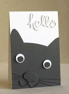 Really Cute Hello Card Design with a handsom kitty! Kids Birthday Cards, Handmade Birthday Cards, Greeting Cards Handmade, Card Birthday, Diy Birthday, Cat Cards, Kids Cards, Tarjetas Diy, Punch Art Cards
