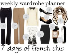 Weekly wardrobe planner for 9.9: 7 days of French chic outfit ideas. #outfitideas [http://www.franticbutfabulous.com/2013/09/09/wear-week-7-days-french-chic/?utm_medium=social_media_campaign=FBFsocial]
