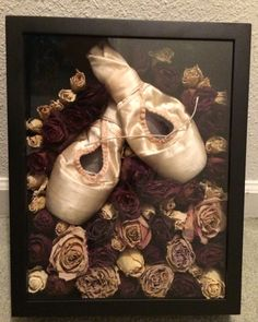 "Pointe Shoe Dance Recital Flower (Roses) Shadow Box DIY  -Craft wire/glue (E6000)- depending on size of flower  -2.5"" deep shadow box"