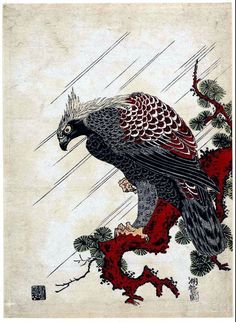 New item in my etsy shopEagle on a pine branch in the rain Isoda Koryusai Japanese woodblock print reproduction JP2-133 by PanchromaticaDesigns. Find it here http://ift.tt/2uxVtNv