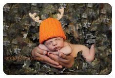 Newborn/Infant Daddy's Little Deer Hunter Crochet Blaze Orange Beanie Hat with Deer Antlers. $20.00, via Etsy.