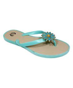 Mint Flower Flip-Flop