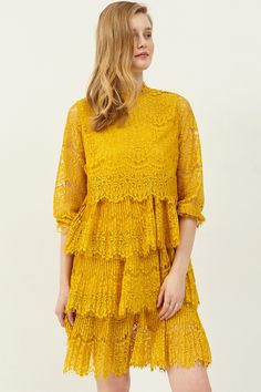 Dora Lace Dress . Discover the latest 2017 #fashion trends online at storets.com  #lacedress #yellowlace #dress