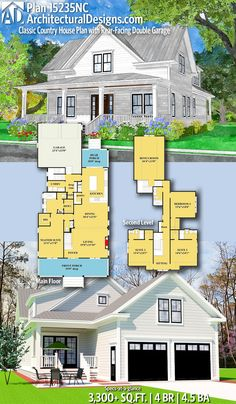 Classic Country House Plan with Rear-Facing Double Garage Architectural Designs Home Plan gives you 4 bedrooms, baths and sq. Ready when you are! Where do YOU want to build? Bedroom House Plans, Dream House Plans, House Floor Plans, Dream Houses, The Plan, How To Plan, Craftsman House Plans, House Blueprints, Farmhouse Plans