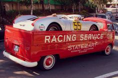 #Porsche 550 Spyder loaded on a stretched #VW single cab. Two #German autos that go together.