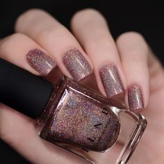 Close Knit - Rosy Mauve Ultra Holographic Nail Polish by Mauve Nails, Red Nails, Hair And Nails, Swag Nails, Holo Nail Polish, Holographic Nail Polish, Nail Polishes, French Nails, Winter Nails