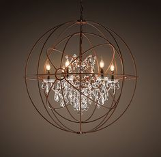 Foucault's Twin-Orb Crystal Chandelier Rustic Iron - gotta have a little glam and metal to balance all the wood