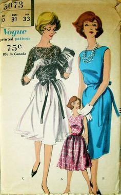 LOVELY Vintage 1960's VOGUE Pattern 5073 Cocktail or Evening Dress UNCUT size 10