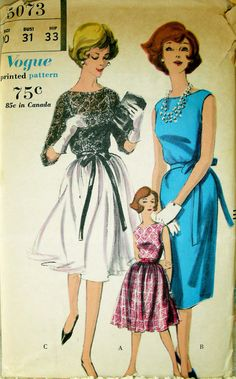 LOVELY Vintage 1960's VOGUE Pattern 5073 Cocktail or Evening Dress UNCUT size 10