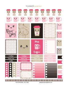 Coffee… My best friend in the morning! Why not include it in our planner. This is a free sheet of printable planner stickers on the theme of Kawaii Coffee. Enjoy Description: The sheet of this printa Planner Stickers Free, Free Printable Stickers, Free Planner, Happy Planner, Cat Stickers, Kawaii Planer, Wash Tape, Planer Organisation, Decoration Stickers