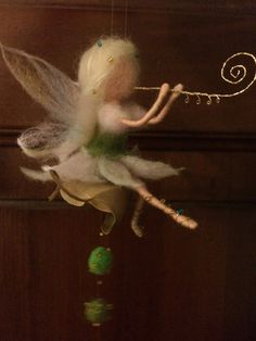 Needle felted. Waldorf home. Fairy music playing by BottegaSogni