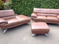 DFS Italian Leather Two Peice Suite, Day Bed And Foot Poof With Care Kit