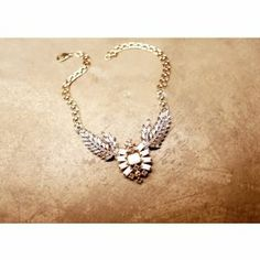 Metal Carved Wing Necklace with Plated Pendant:   USD $11.56