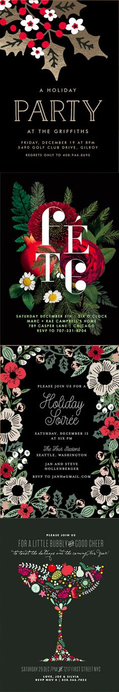 Add a glitzy touch to your holiday dinner invitations with Minted's selection of unique holiday designs. Shop these styles and more at Minted.com