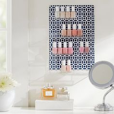 Chic nail polish storage is the way to an essie girl's heart.