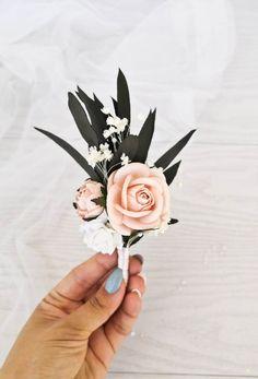 Blue Wedding Crowns, Blush Pink Wedding Flowers, Pale Pink Weddings, Prom Flowers, Bridesmaid Flowers, Bridal Flowers, Floral Wedding, Blush Pink And Black Wedding, Pink Boutonniere