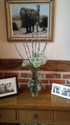 Reusing white alliums & pussy willow left over from last week's spring blossom floral arrangement.