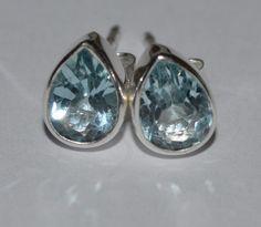 925 Sterling Silver Faceted Blue Topaz Earrings 7x5mm: Ocean Drop