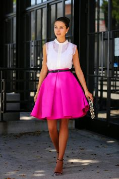 Full pink skirt & white organza top