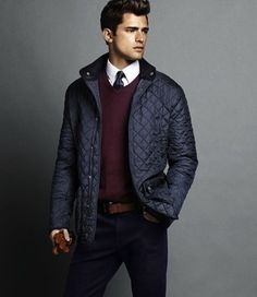 A navy quilted coat is a must have for cold weather.