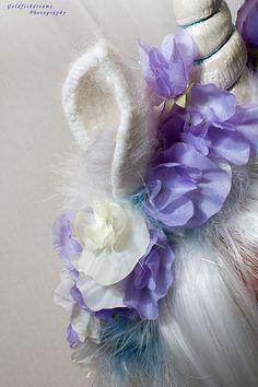 Unicorn Headdress Made by Uniquekerer, Goldfishdreams, Handmade, Crafted, OOAK, Beautiful, Unique, Needle Felting, Unicorn