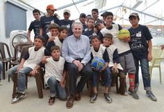 Ex-Olympics chief Rogge visits young Syrian in with message of hope - Jacques the UN Special Envoy for Youth Refugees and Sport, poses in Azraq camp with some of the young Syrian refugees he encouraged. © IOC/R. Syrian Children, Sports Complex, Syrian Refugees, Message Of Hope, Olympics, Jordans, Youth, Poses, How To Plan