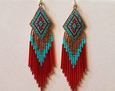 Native American Style Beaded Earrings in Turquoise, Copper and Red Chandlier, Boho, Hippie, Southwes Beaded Earrings Patterns, Seed Bead Patterns, Beading Patterns, Seed Bead Jewelry, Seed Bead Earrings, Beaded Jewelry, Red Earrings, Copper Earrings, Native Beadwork