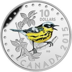 Numismatic Coin: A new delicious Silver Coin Colorful Songbird of Canada: The Magnolia Warbler.