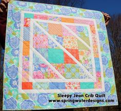 Sleepy Jean Crib Quilt  by Dawn Stewart... a cute little quilt that's perfect for crib or stroller, and because it sews up quickly it  makes a wonderful baby shower gift.  The small 34″ square size is just right for little hands to carry as they toddle around! One 34″ x 34″ Honey-Sweet little quilt to cuddle up and take a nap with...