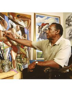 Ernie Barnes  1938-2009 Artist; professional football player (AFL: New York Titans, San Diego Chargers, Denver Broncos) Left: in his L.A. studio, 1996