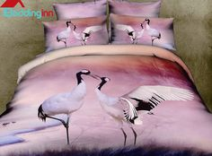 Beautiful Red-crowned Crane Print 4-Piece Bedding Sets #3dbedding #animalprintbedding #bedding
