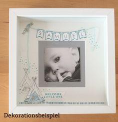 Ein tolles Geschenk zur Geburt oder Taufe! Fotorahmen mit Namen und süßem Indianerzelt im weißen Rahmen. Dieser Rahmen ist in zarten Farbtönen gehalten. Ein handbemaltes Indianerzelt und der...