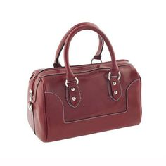 Costilde Leather Narciso Handbag, Red