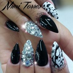 Black and white and bling stilettos #trythisnail