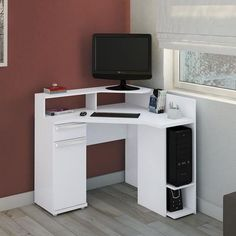 The white computer desk is a good idea when you want to have a special working space with am awesome property. It is very nice for modern working space decor. Home Office Furniture, Furniture Design, Home Office Design, House Design, Computer Desk Design, Computer Tables, Study Table Designs, Modern Desk, Design Moderne