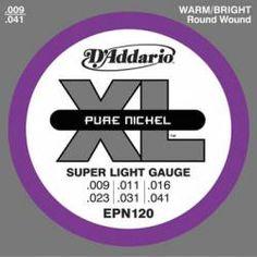 Cuerdas D'Addario juego EPN120 Pure Nickel Super Light 9-41