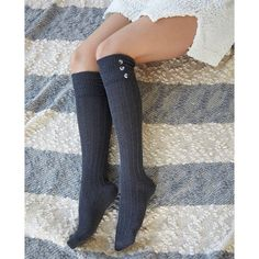 Ribbed Button Cuff Knee-High Socks ($7.90) ❤ liked on Polyvore featuring intimates, hosiery, socks, charcoal, wet seal socks, wet seal, ribbed knee socks, knee hi socks and knee socks